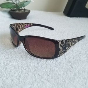 Candie's Brown Floral Bedazzled Sunglasses